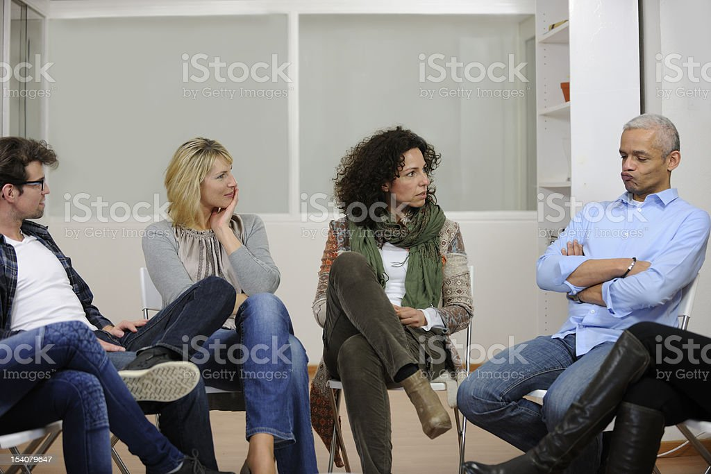 Group therapy or discussion stock photo