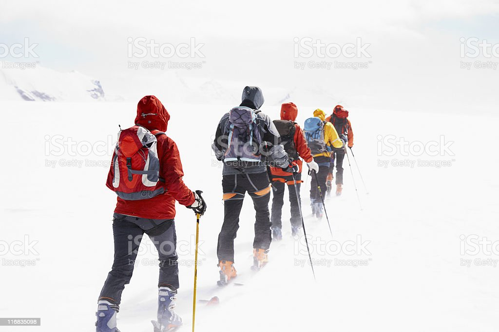 Group touring skiers royalty-free stock photo