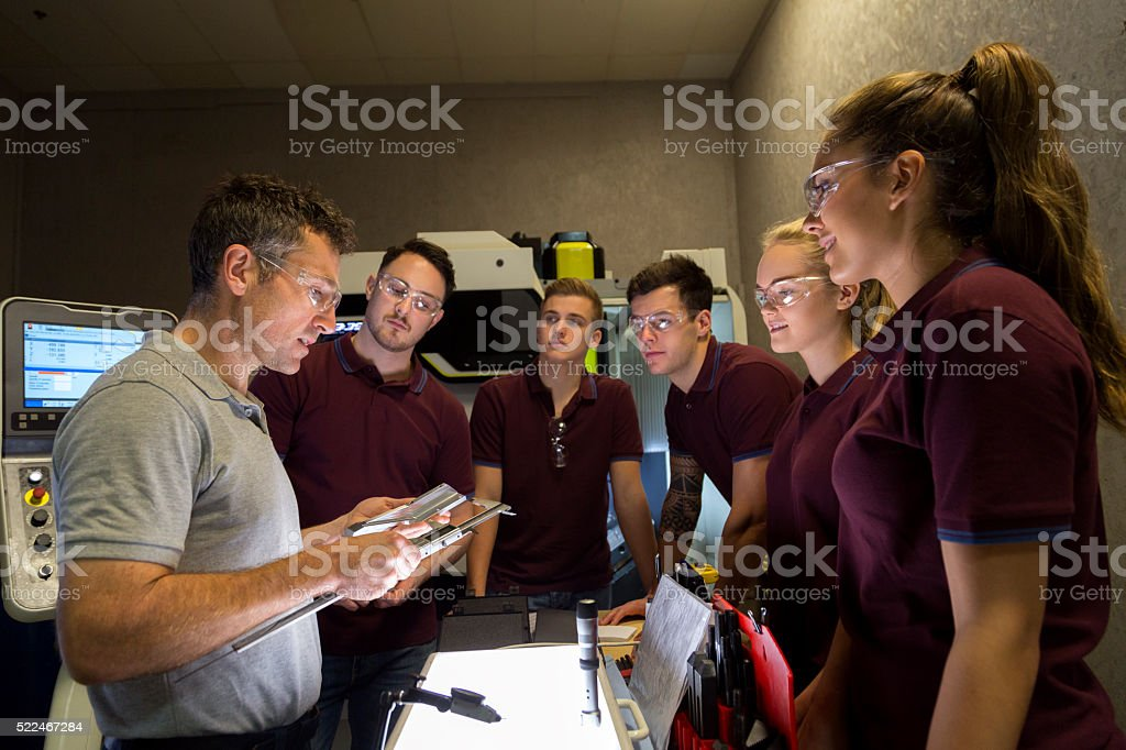 Group Tuition on Precision Measurement Instruments stock photo