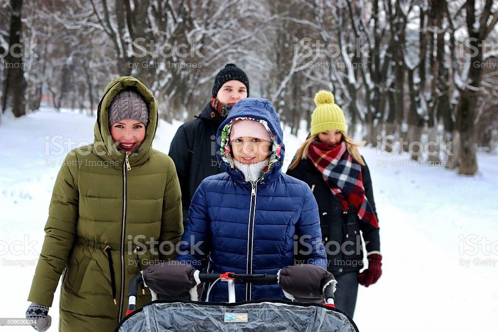 group walk outdoor winter snowy stock photo