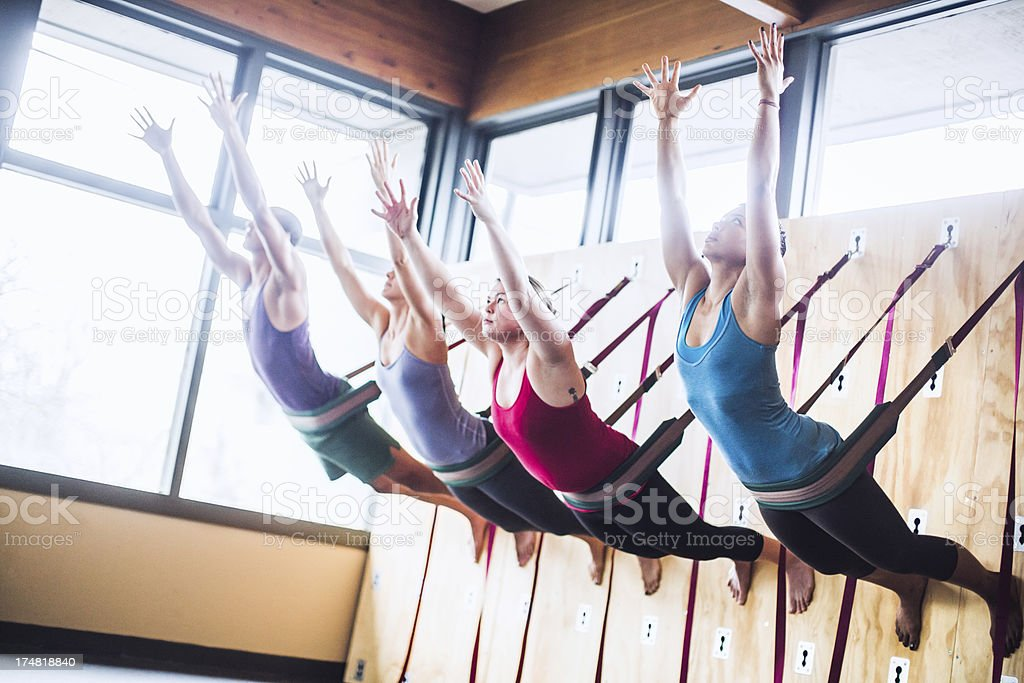 Group Wall Yoga Class royalty-free stock photo