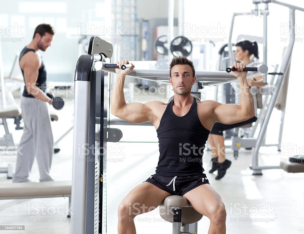 group with weight training equipment on sport gym royalty-free stock photo