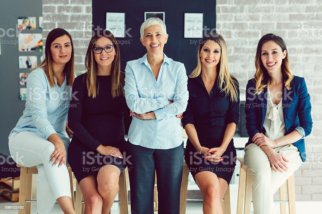 Group Women Only Corporate Portrait. stock photo