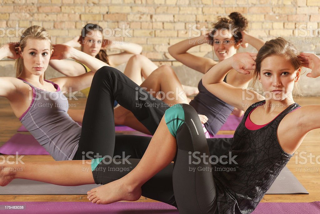 Group Workout with Stretching Exercise and Training Hz royalty-free stock photo