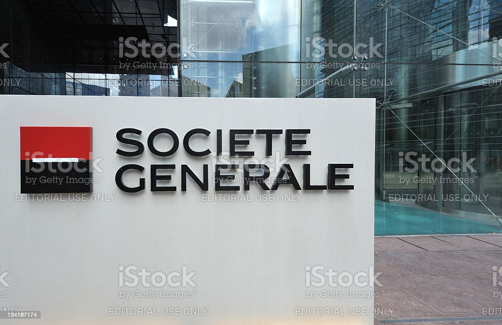 Groupe Societe Generale logo in front of headquarters building royalty-free stock photo