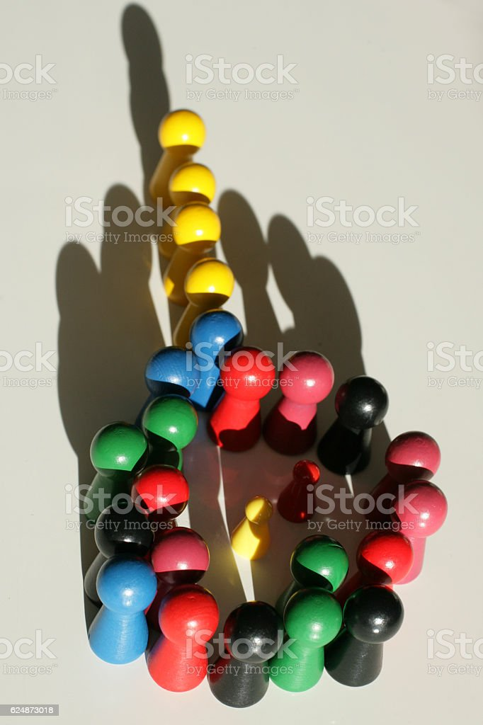 Grouped tokens in colors stock photo