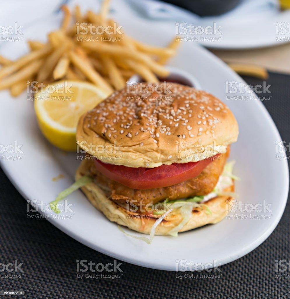 Grouper fish sandwich stock photo