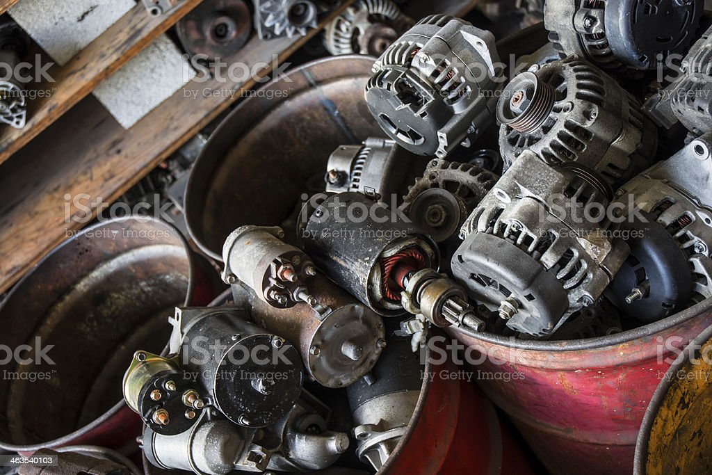 Grouping Of Auto Parts Rebuilt Alternators stock photo