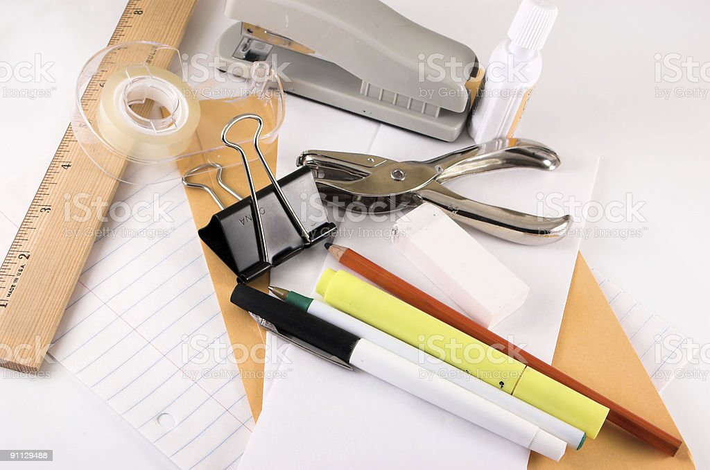 Grouping of various office supplies royalty-free stock photo