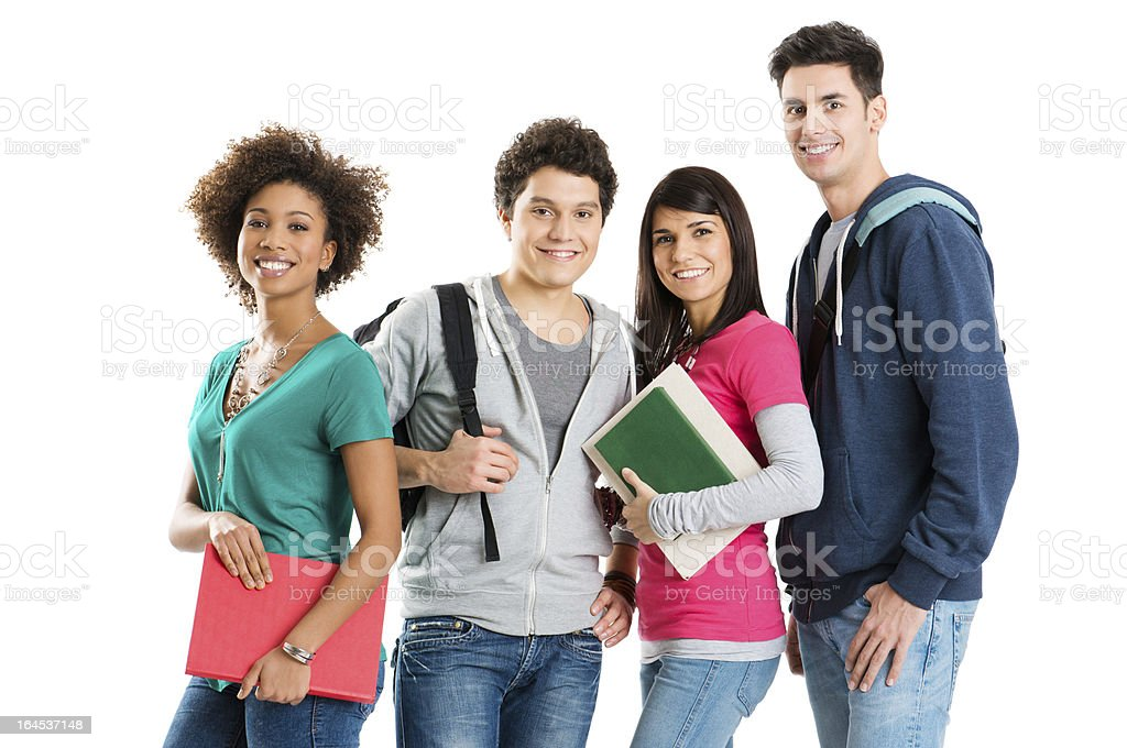 Groups of four smiling students over a white background stock photo