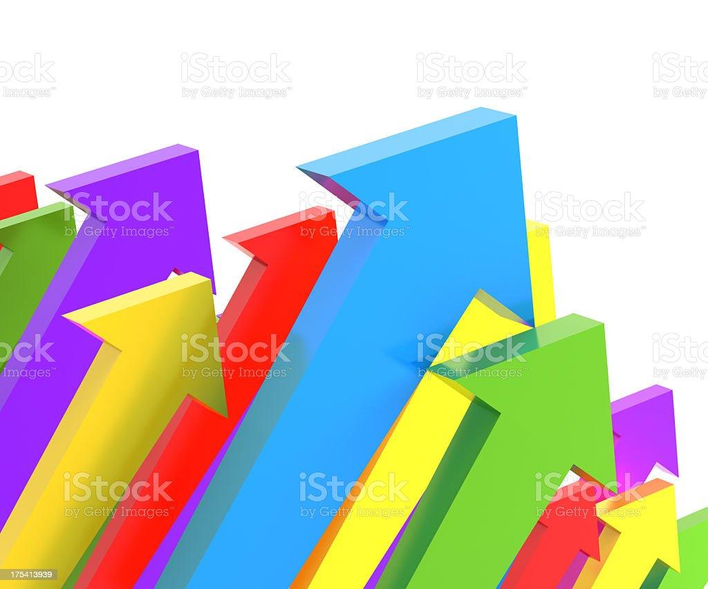 Groups of upward arrows, 3d render stock photo