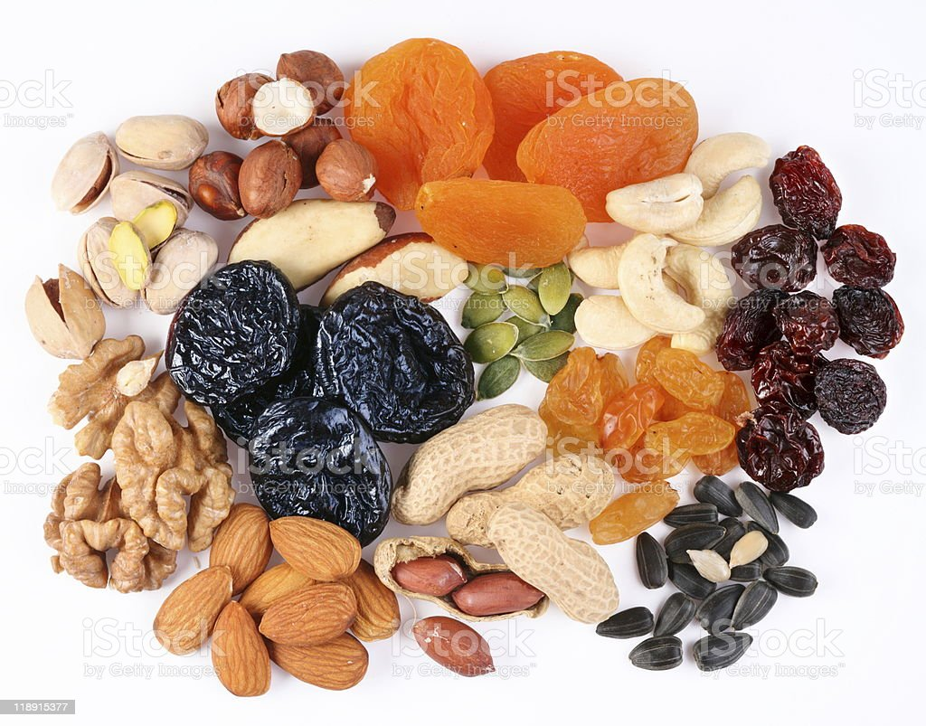 Groups of various kinds dried fruits stock photo