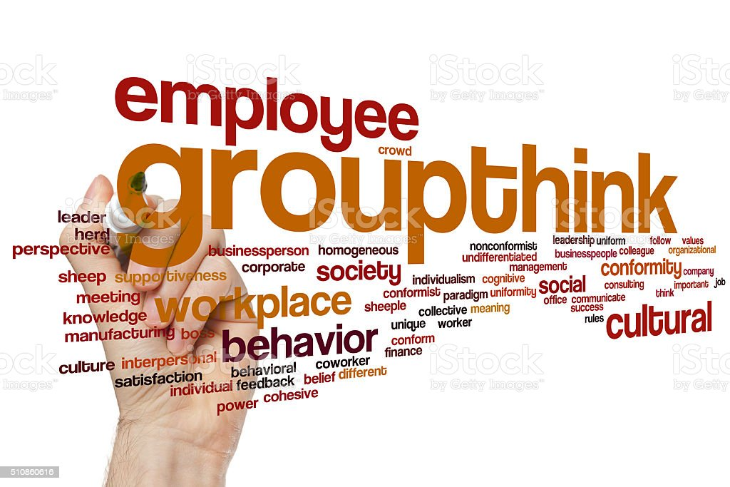 Groupthink word cloud stock photo