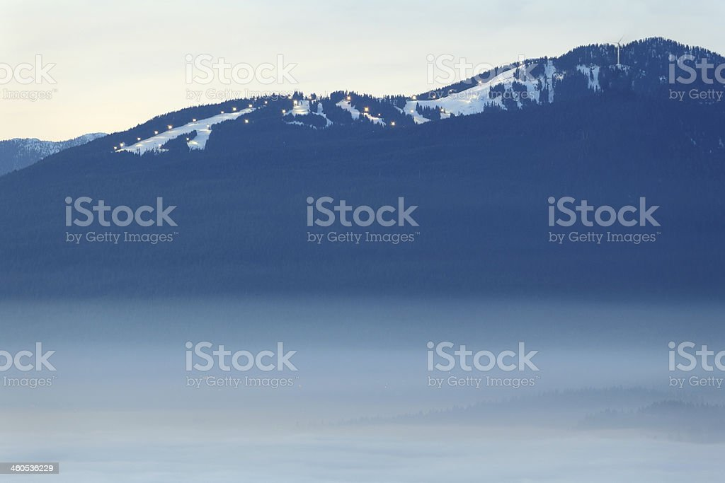 Grouse Mountain Dusk Fog, British Columbia royalty-free stock photo