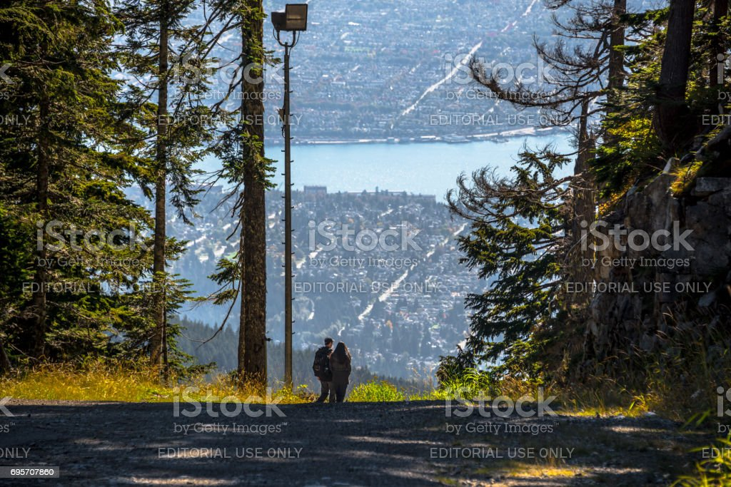 Grouse Mountain - View of Vancouver stock photo