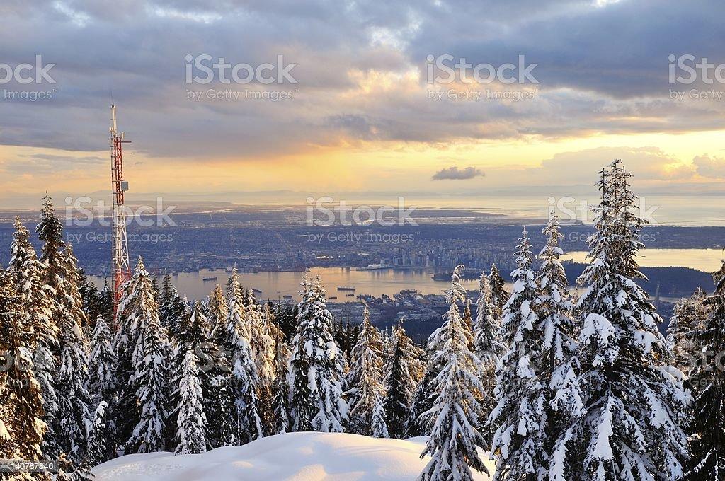 Grouse Mountain Winter Sunset stock photo