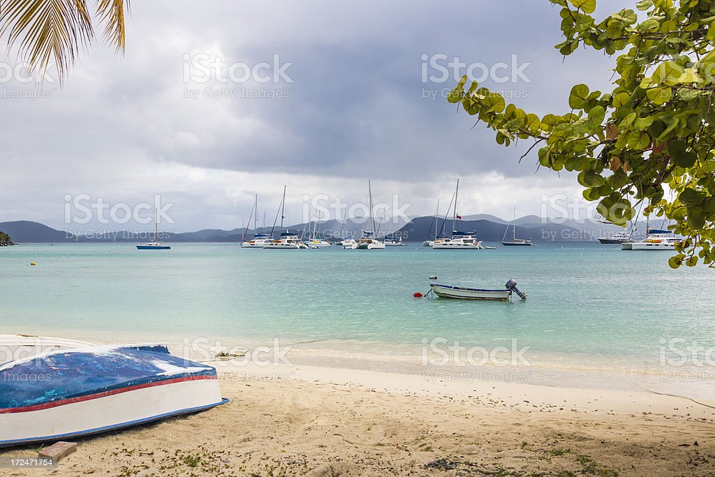 Growded Caribbean Anchorage as Squalls Blow Through royalty-free stock photo