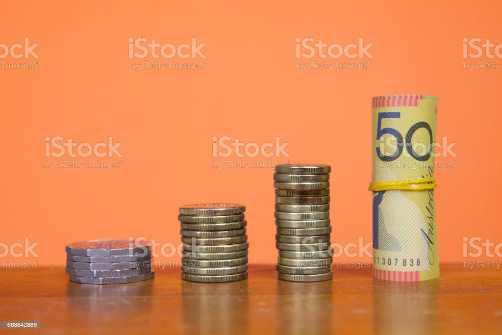Growing Australian Currency Savings stock photo