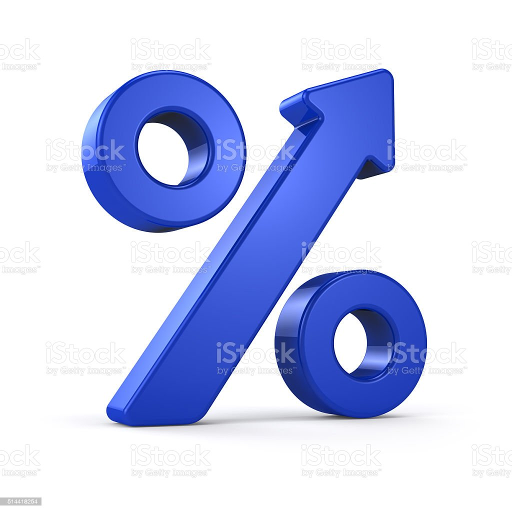 Growing Blue Percent Sign stock photo