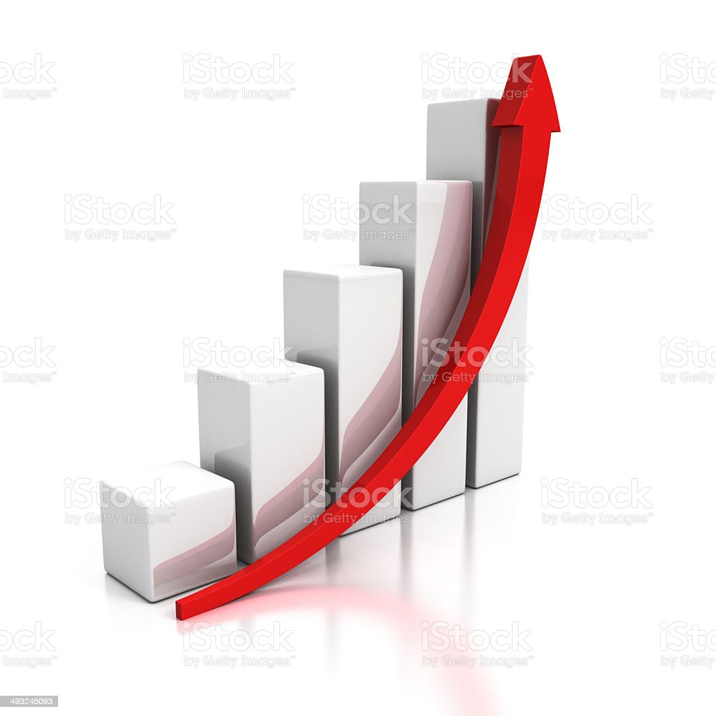 growing business graph with rising arrow stock photo