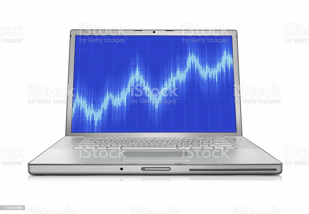 Growing Chart and Laptop royalty-free stock photo