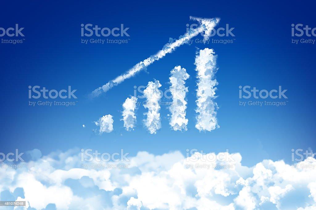 growing graph cloud stock photo