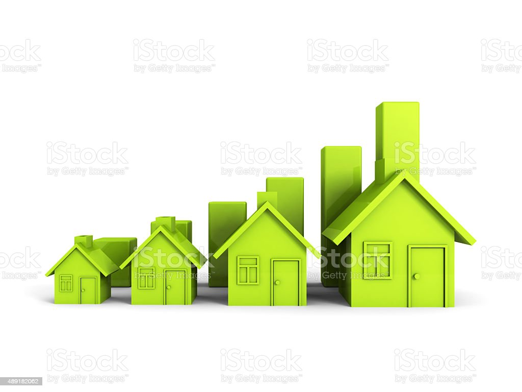 Growing Green House Chart Graph. Real Estate Concept stock photo