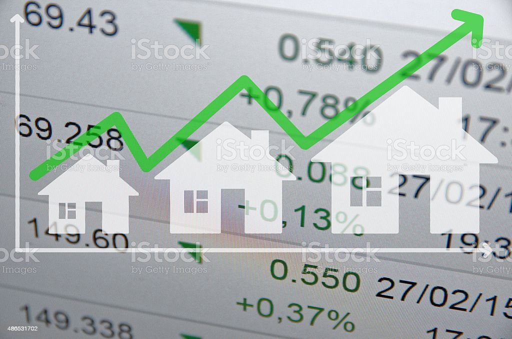 Growing housing market. Uptrend arrow. vector art illustration