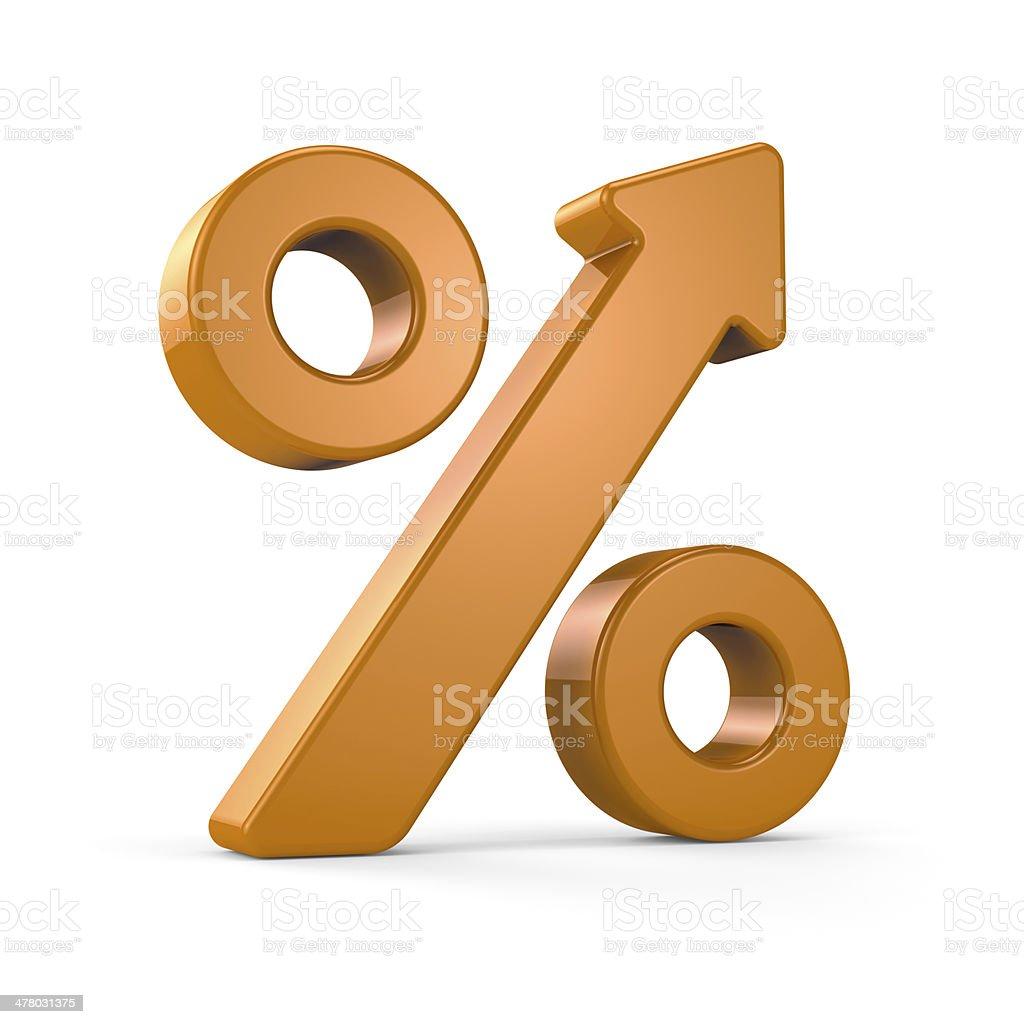 Growing percent sign stock photo