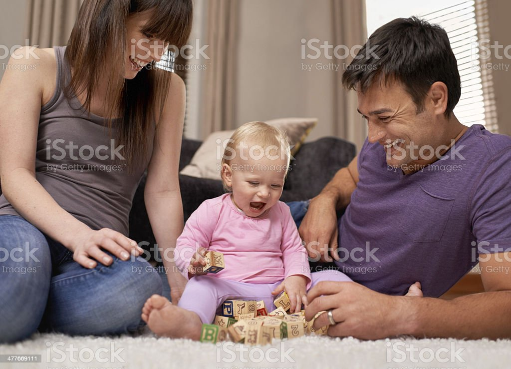 Growing up under her parents' guidance stock photo