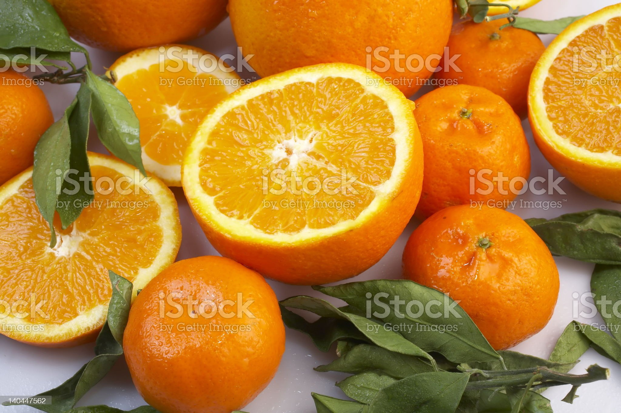 grown oranges with leaves royalty-free stock photo