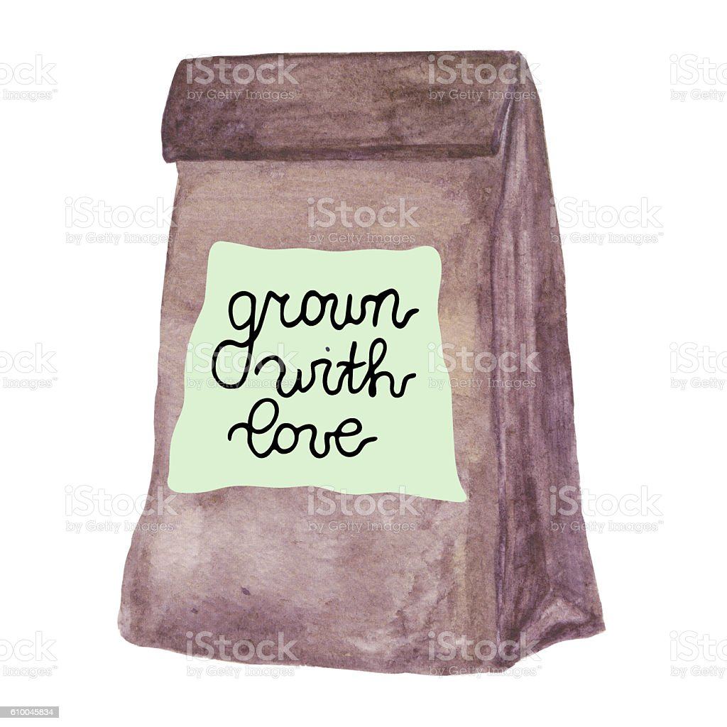 Grown with love. Paper bag with healthy food. vector art illustration
