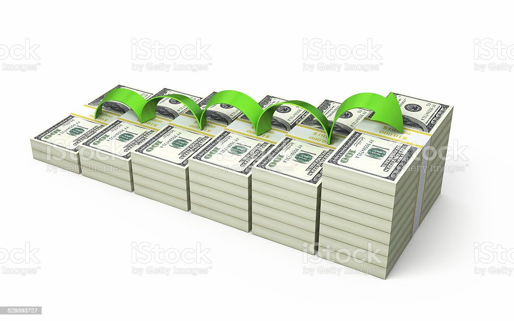Growth $100 banknotes stock photo