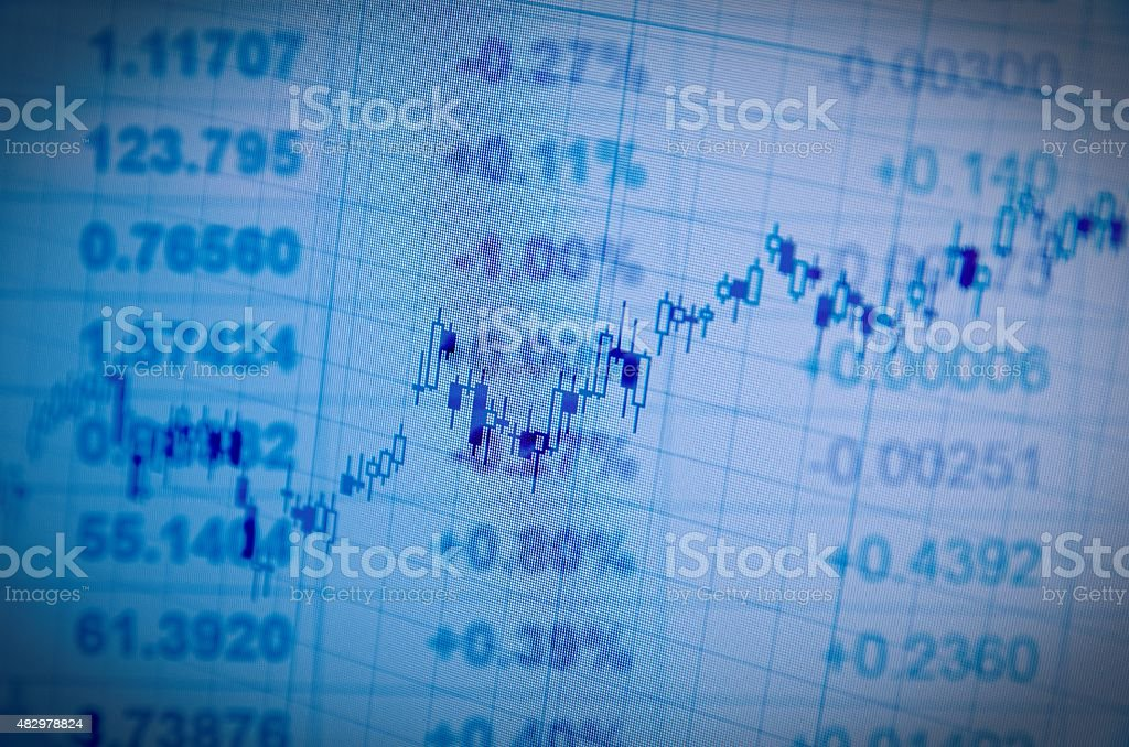 Growth candlestick chart on PC screen. Lo-fi effect stock photo