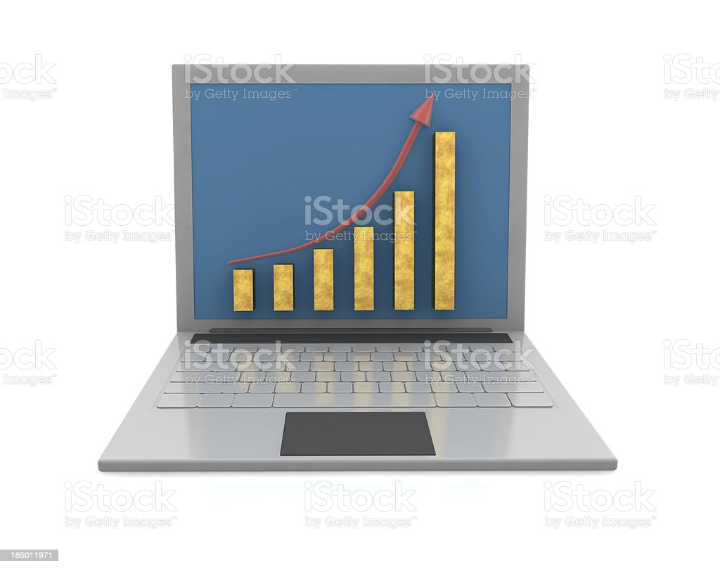 Growth Chart and Laptop royalty-free stock photo