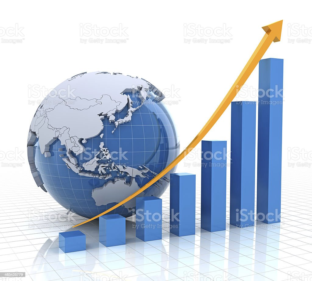 A growth chart depicted with a globe stock photo
