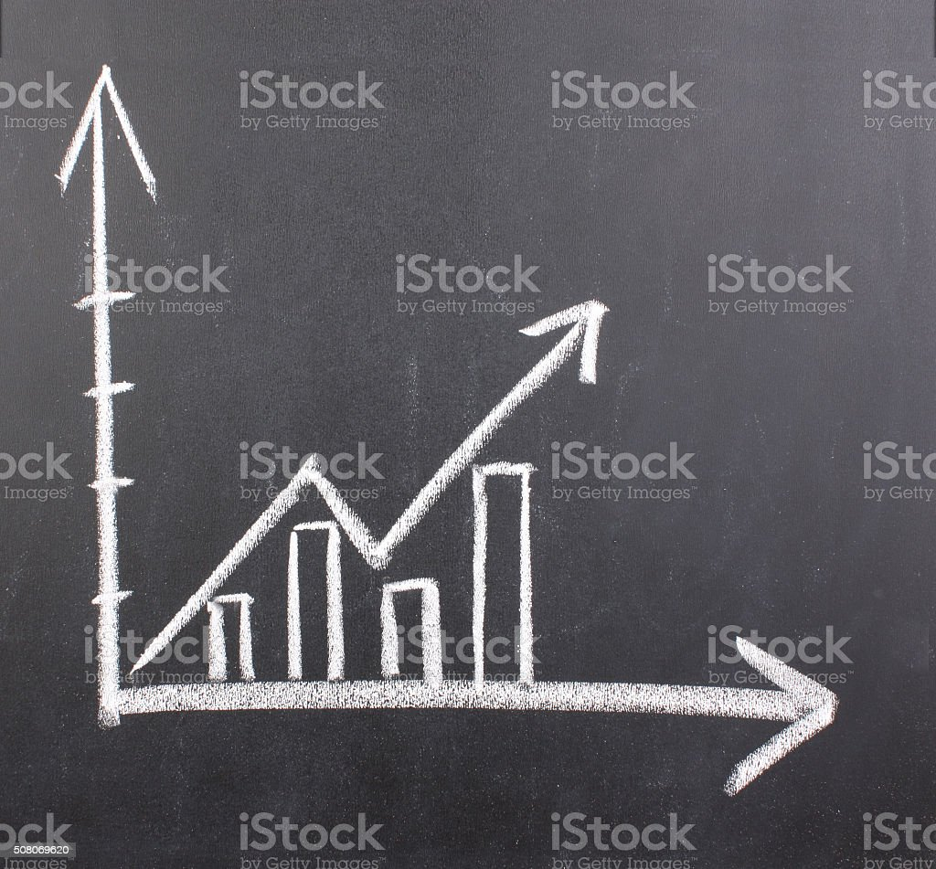 Growth chart on blackboard stock photo