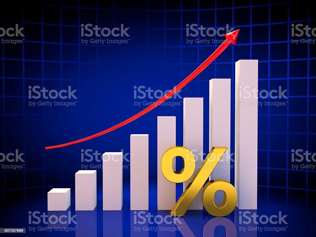Growth Chart percent stock photo
