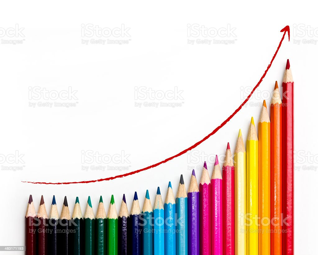 Growth Chart with pencil stock photo