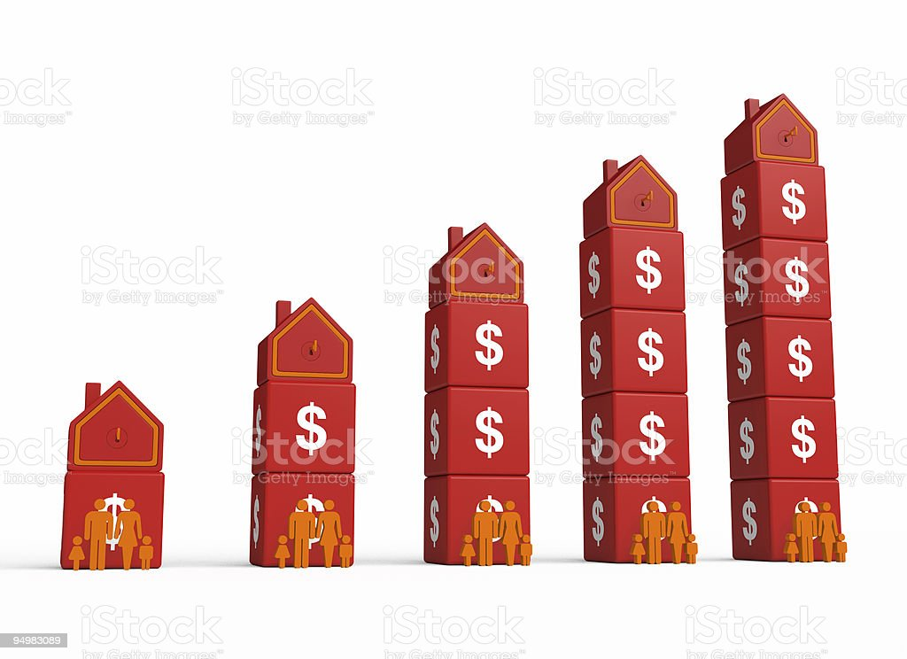 Growth Dollar and Houses Chart royalty-free stock photo