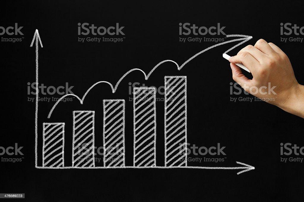 Growth Graph on Blackboard royalty-free stock photo