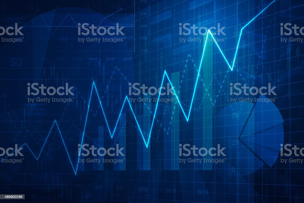 Growth graph with financial chart and graph, success business stock photo