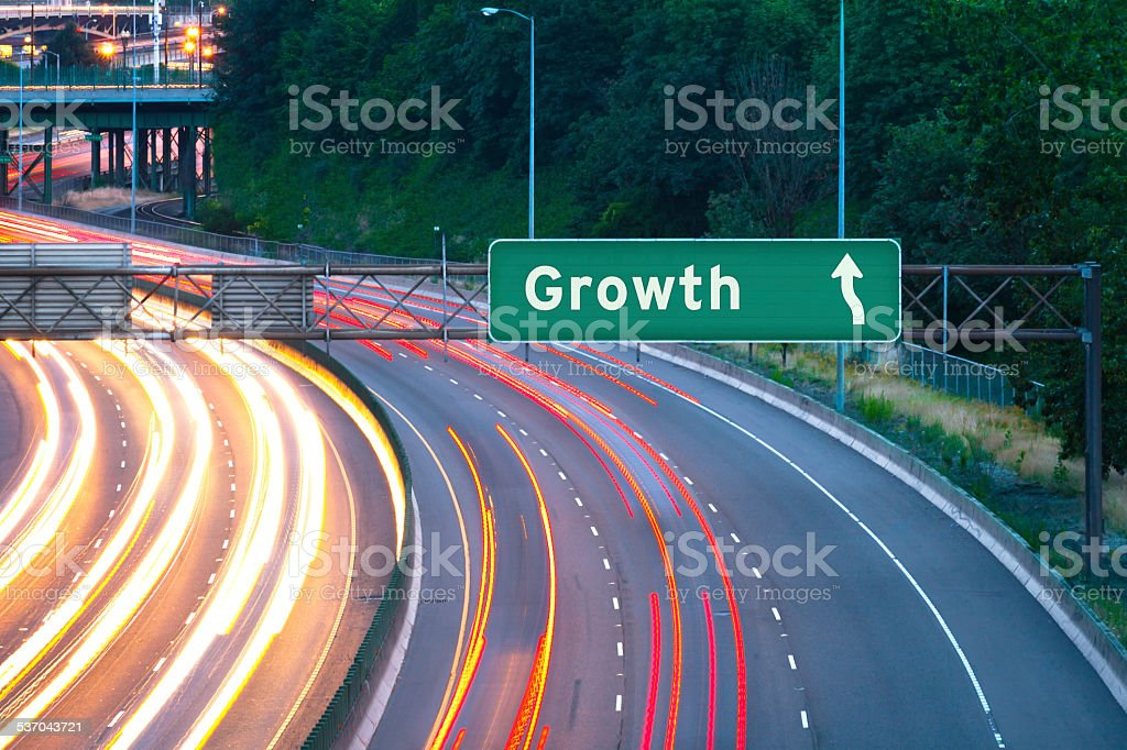 Growth Highway Sign stock photo