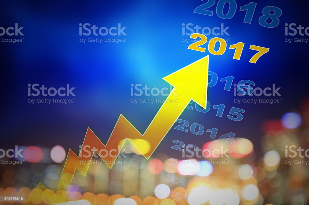Growth of 2017 stock photo