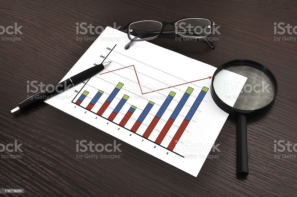 growth of chart on paper royalty-free stock photo