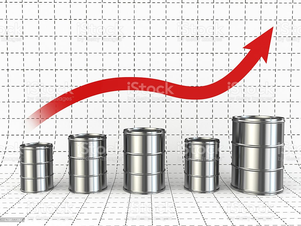 Growth of oil or petrol price. Barrels and graph. stock photo