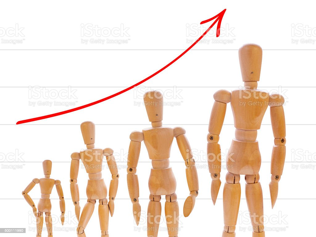 Growth of wooden mans stock photo