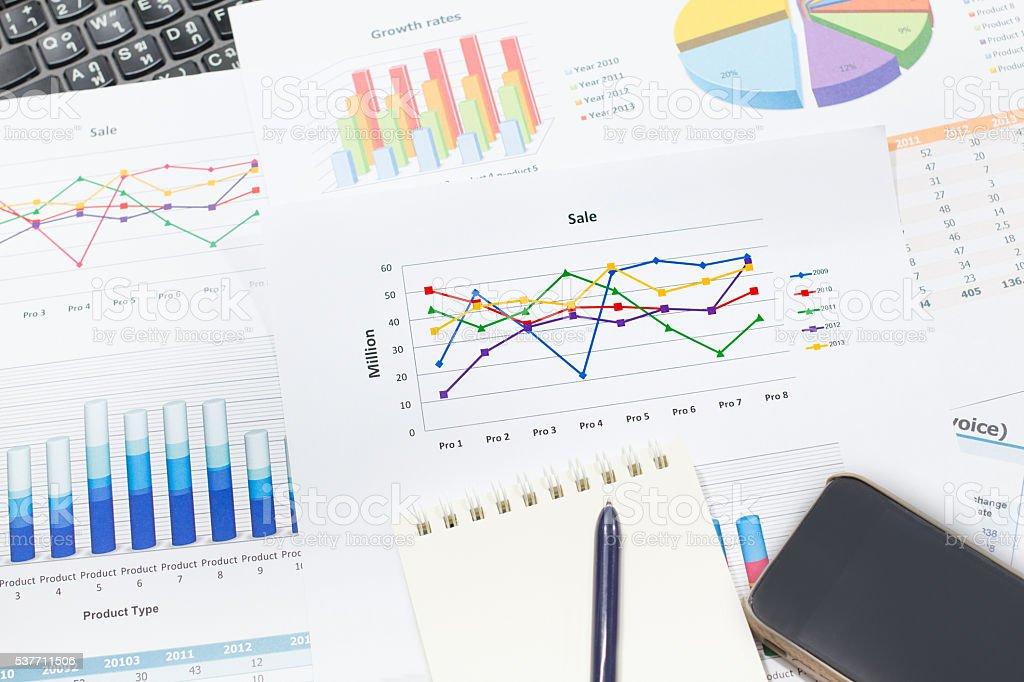 growth rate of Sale analysis report show success result charts Стоковые фото Стоковая фотография