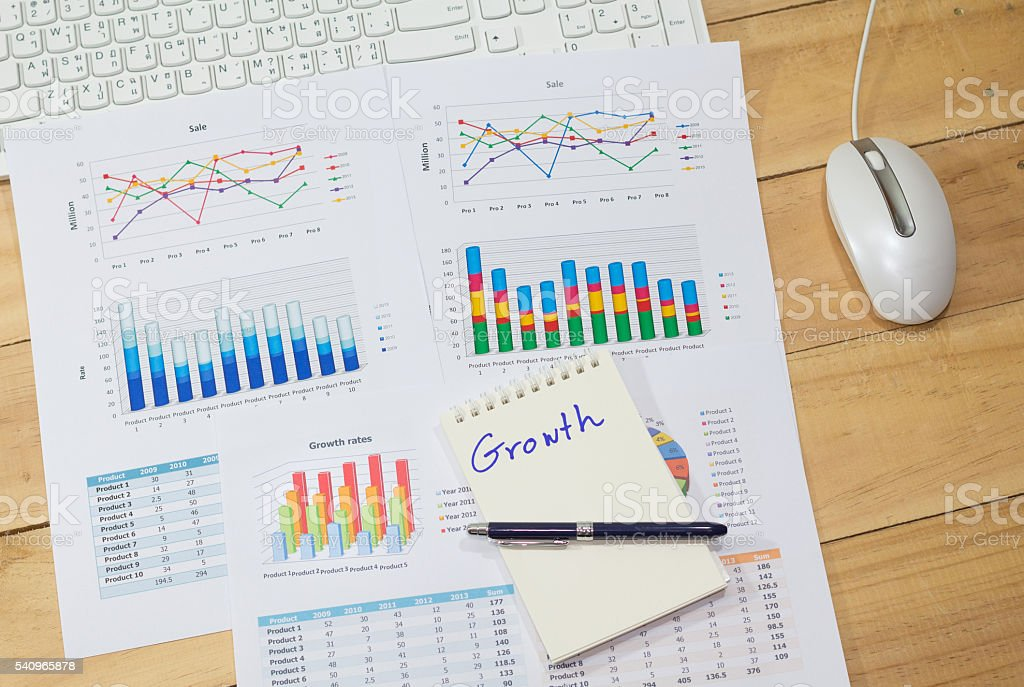 growth rate  Sale analysis report show success charts and graphs Стоковые фото Стоковая фотография