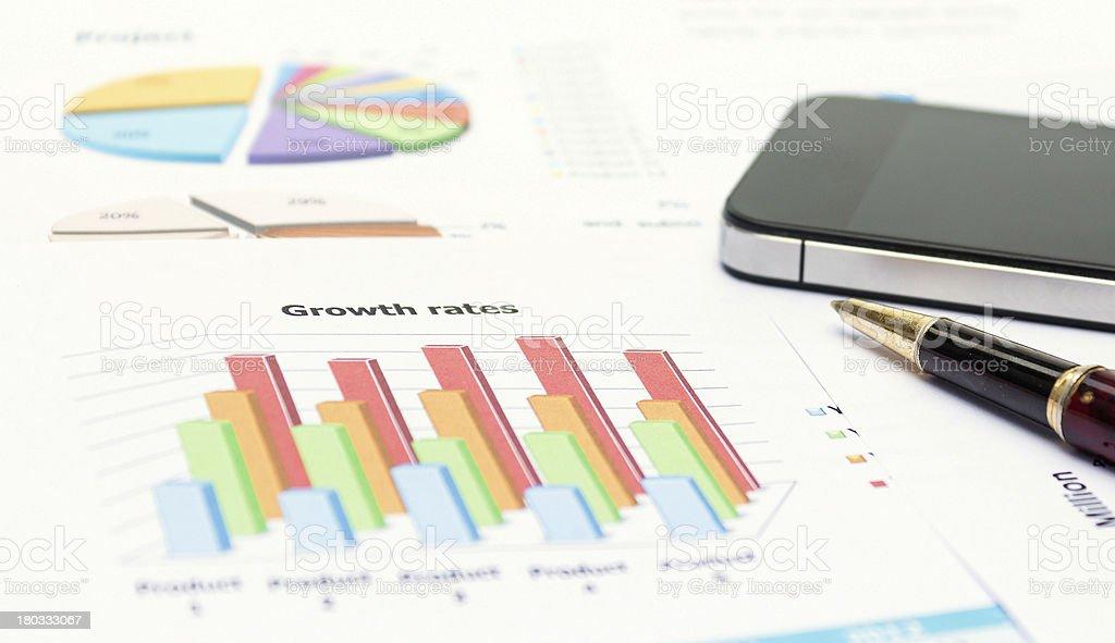 Темпы роста Успех шоу в график отчет о продукте Стоковые фото Стоковая фотография